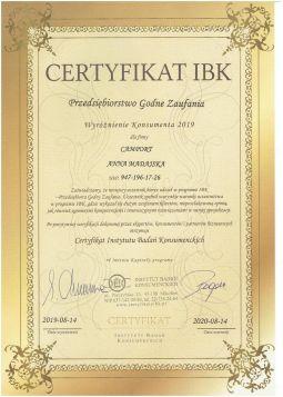 Certyfikat IBK Przedsiębiorstwo Godne Zaufania