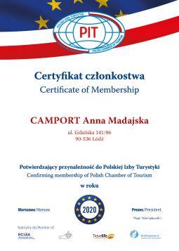Certyfikat Członkostwa Potwierdzający Przynależność Do Polskiej Izby Turystycznej