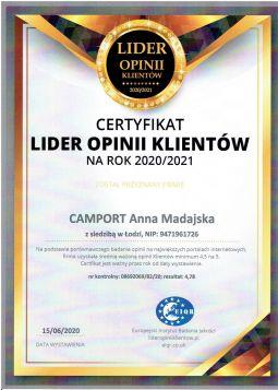 Certyfikat - Lider Opinii Klientów rok 2020/2021