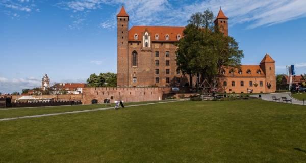 na pierwszym planie widać równą zieloną trawę, w tle Zamek w Gniewie, zakryty jednym drzewem, dorównującym mu wysokością, na zdjęciu widać dwie wieżyczki zamku