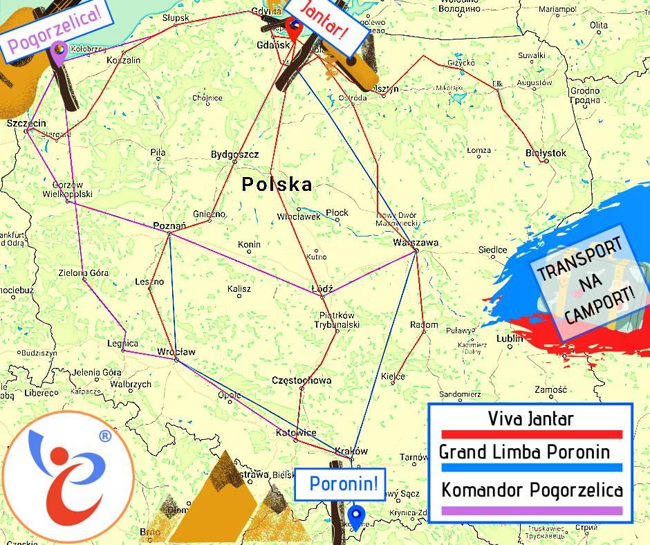 Mapa Polski z zaznaczonymi trasami, którymi można dojechać na obozy z Camportem